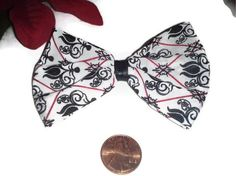 Black and White Damask Print Hair bow, Black and White Bows, Holiday Gift Ideas | $3.50