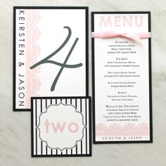 Modern Menu Cards ($175 for 100) Wedding Table Numbers ($3 each) Place Cards ($200 for 100) by BeaconLane