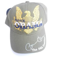 "Obama -Barack Obama  Golden Eagle ""SIGNATURE Cap - ( Military Grey) Adjustable"