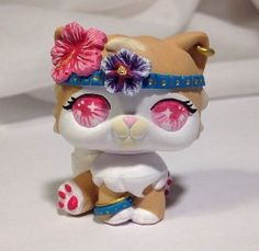 Littlest pet shop Cat  * Tropical Kitty * Custom Hand Painted LPS OOAK #Hasbro