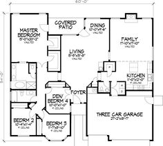 Ranch House Plan First Floor - (i like layout, would add snack bar in kit., nice master closets) re-take.smaller kitchen and lvg room for lg sf Ranch House Additions, Home Additions, Florida House Plans, Southern House Plans, Ranch Home Floor Plans, House Floor Plans, House Plans And More, Modern House Plans, Story House