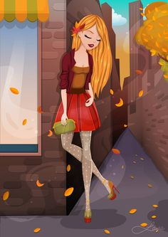 Behance, Autumn, Facebook, Lady, Illustration, Fictional Characters, Illustrations, Fall