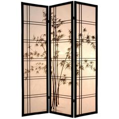 Oriental Furniture Bamboo Tree Room Divider - SSCDXBT-3_PANEL-BLACK