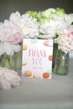 Thank you card from a Sweet Macaron Themed Birthday Party