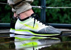 Nike Flyknit Racer White Black Volt