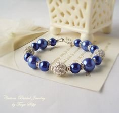 Sapphire Blue Bracelet  Wedding Jewelry Glass Pearls with Rhinestone Spacers and Four Focal Alloy Shamballa