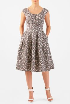 Pretty pleats detail the scooped neck of our polka dot print cotton dress, box-pleated and nipped in at the banded waist for a figuring-flattering silhouette, and finished with pintuck pleats at the hem.