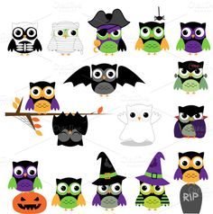 Check out Halloween Owls Clipart and Vectors by PinkPueblo on Creative Market