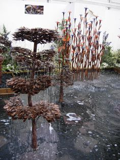 Copper tree fountains