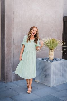 THE MILLIE DOTTED MIDI DRESS IN MINT