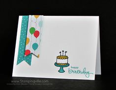 Quick and easy birthday card for any age. Endless Birthday Wishes stamp set, Cherry on Top Designer Series Paper, Banner Triple Punch, coloring with Stampin' Write Markers.