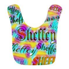 Sheffey Fonts - Yellow and Pink Rainbow 9642 Baby Bib
