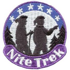 Nite, Night, Trek, Treck, Dark, Stars, Tree, Patch, Embroidered Patch, Merit Badge, Badge, Emblem, Iron On, Iron-On, Crest, Lapel Pin, Insignia, Girl Scouts, Boy Scouts, Girl Guides