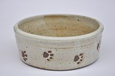 Handmade ceramic dog bowl with paw prints, white pottery dog bowl. Stoneware, Pottery, Ceramics
