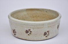 Handmade ceramic dog bowl with paw prints, white pottery dog bowl. Stoneware, Pottery, Ceramics