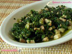 Spinaci e pancetta in padella