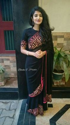 Blocks n prints Fancy Sarees, Party Wear Sarees, Ethnic Outfits, Indian Outfits, Blouse Neck Designs, Blouse Patterns, Saree Look, Elegant Saree