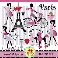 Paris Element Digital Clipart Set 1 Digital por Cherryclipart, $5.00