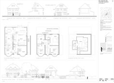 Planning application drawing showing street scene, elevations and floor plans. 1930s House Extension, House Extension Plans, Single Storey Extension, Side Extension, Extension Ideas, 1930s House Renovation, Building Renovation, Loft Conversion Floor, 1930s Semi Detached House