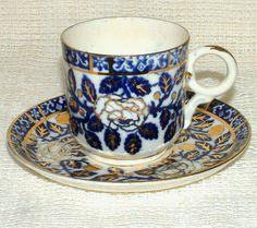 Antique/Victorian Unmarked FLOW BLUE & GILT Coffee CUP & SAUCER Rose Design