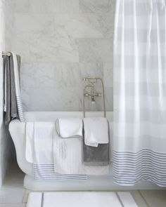 Fouta bath towel towels striped shower curtain guest room within turkish . Coastal Bathroom Decor, Ikea, Tile Covers, Striped Shower Curtains, Blue Tiles, Bath Sheets, Wooden Cabinets, Color Tile, Bath Towels