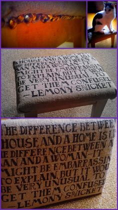"Took some fabric and reupholstered a chair. This particular fabric was chosen, because it is very rough linen, so it looks like a coffee bean bag with the black letters and all. It's a little messy, but i made all the letters by hand, without stencil.  This is a part of my project - im redoing my apartment. The living room/library will be in  theme ""The room of thousand words"". If you have any suggestions about what i should do with other furniture, drop a line. My cat really likes it…"