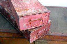Vintage Industrial Metal Bank Deposit Boxes