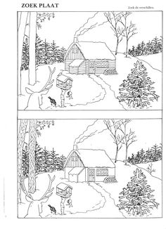 Sneeuw: zoek de verschillen Winter Activities, Christmas Activities, Christmas Crafts, Autism Learning, Preschool Activities, Colouring Pages, Coloring Books, Hidden Pictures, Picture Puzzles