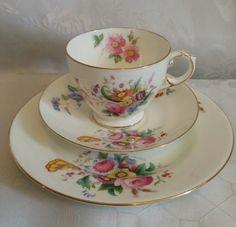 Pretty vintage crescent china Junetime tea cup saucer plate trio George Jones   | eBay