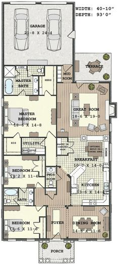 Dream home floor plans Pretty long. Would work better as a 2story.