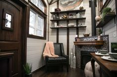 This is a Tudor-style Fairytale tiny house on wheels built by Tiny Heirloom and featured on a recent episode of Tiny Luxury on HGTV's DIY Network and you're welcome to come check it out and learn more about it inside! Tiny House Swoon, Tiny House Living, Tiny House On Wheels, Tiny House Design, Small Living, Living Room, Bedroom Nook, Small House Decorating, Decorating Ideas