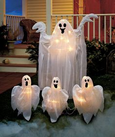 Make yours the scariest house on the block for Halloween night with these Lighted Ghosts Yard Stakes. Each apparition glows with white lights under a sheer polyester sheet. Spooky Halloween, Halloween Yard Decorations, Fete Halloween, Halloween Haunted Houses, Halloween Ornaments, Outdoor Halloween, Halloween Night, Spirit Halloween, Holidays Halloween