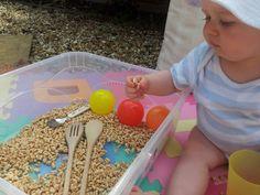 Edible Sensory play with puffed wheat