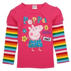 Polera Fucsia mangas colores, Tallas 18 meses a 6 años, Valor 8.990.- Peppa Pig, Kids Branding, Kids Outfits, Sweatshirts, Children Clothing, Sweaters, Cotton, T Shirt, Baby Girls
