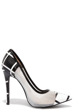 df6d7c48b7a8 Grid Strides Black and White Pointed Pumps