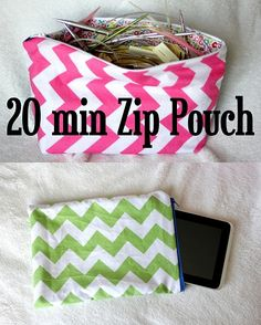 diy 20 minute lined zip pouch