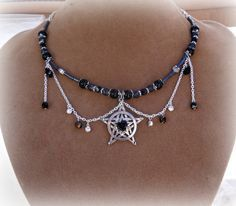 Gothic style pentacle necklace wiccan by SpellboundOriginalz