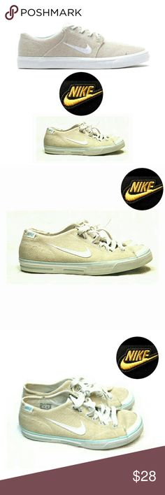 NIKE BEIGE CANVAS LACE UP SWOOSH SNEAKERS NEIGHBORHOOD BEIGE CANVAS LACE UP SWOOSH SNEAKERS Pre-Loved  Size 8 1/2 Beige Canvas with White Trim & Pastel Green Piping Some Minor Wear Perfect fit & wore a couple of times.  Pls See All Pics. Ask ? If Not Sure Nike Shoes Sneakers