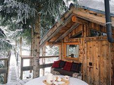 Weekend Cabin: La Clusaz, France home Winter Cabin, Cozy Cabin, Cozy Winter, Winter Porch, Snow Cabin, Forest Cabin, Winter Holiday, Winter Snow, Cabin Homes