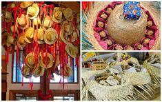 Decoração de festa junina com chapéus de palha