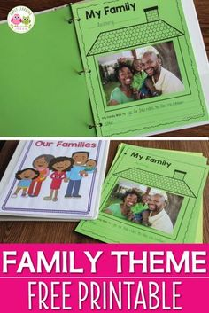 Here is a free family theme printable for you. It is a great activity to add to your Thanksgiving, all about me, or family theme lesson plans. Use the pages individually or bind them to create a class book (cover included) Perfect for preschool, pre- Preschool Family Theme, Preschool Themes, Kindergarten Activities, Preschool Activities, All About Me Activities For Preschoolers, Family Activities, Kindergarten Family Unit, 3 Year Old Preschool, Kindergarten Thanksgiving
