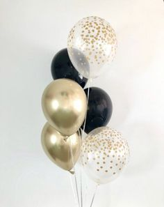 Black Gold Chrome Gold Confetti Latex Balloons Black and Gold Party Decor Graduation Bachelorette Party Black and Gold Chrome Balloons - Decoration For Home Black And Gold Balloons, Black And Gold Theme, Black Gold Party, Gold Confetti Balloons, Black And Gold Party Decorations, Balloon Decorations Party, Black And Gold Centerpieces, Gold Birthday Party, 40th Birthday