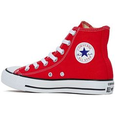Converse All Star High-Top Sneaker Red ($150) ❤ liked on Polyvore featuring shoes, sneakers, converse, converse shoes, red trainer, converse sneakers, hi tops and high top sneakers