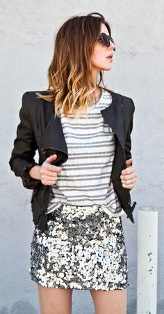 Black jacket + sequined skirt.