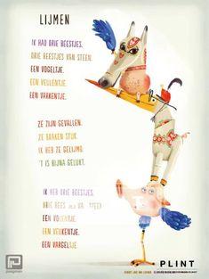 Plint poëzieposter 'Lijmen' Joke van Leeuwen Job van Gelder - Plint van Joke van Leeuwen. Poetry Journal, Poetry For Kids, Classroom Organisation, School 2017, Close Reading, Drawing For Kids, Cool Words, Preschool, Jokes