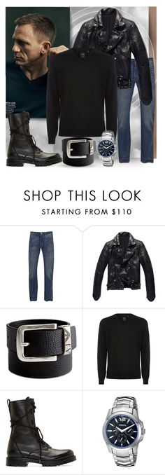 """""""wild card"""" by collagette ❤ liked on Polyvore featuring Vanity Fair, Levi's, Giorgio Armani, BOSS Hugo Boss, Helmut Lang, FOSSIL, jeans, MensFashion, armani and levi"""