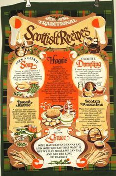 Traditional Scottish Recipes Tea Towel Vintage by FunkyKoala