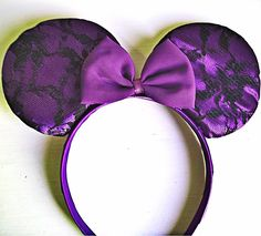 purple mickey and minnie mouse | Minnie Mouse ears, covered in purple satin and black lace. Super ...
