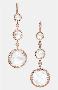 Ivanka Trump 'Rose Gold' Long Stone & Diamond Drop Earrings | Nordstrom    Rustic wedding accessories