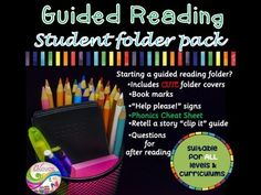 """Started preparing for guided reading?TPT is full of guided reading sheets and activities that are pretty great! This product is to help you start a student folder pack for guided reading :)It includes:- folder cover (horizontal and vertical / males and females)-book marks/pointers-""""help please!"""" sign for students to call for help during quite reading.-speech bubbles cute cards with questions to ask after reading (this can go home to encourage parents to engage in their child's reading…"""